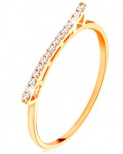 Prsteň zo žltého 14K zlata - vyvýšená trblietavá vlnka  so zirkónikmi - Veľkosť: 49 mm