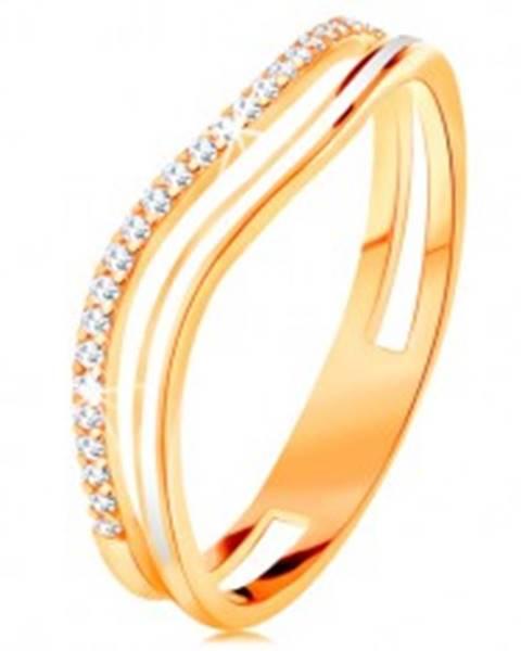 Prsteň zo žltého 14K zlata, zvlnené ramená s výrezom v strede, glazúra a zirkóny - Veľkosť: 49 mm