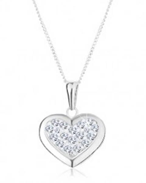 Strieborný 925 náhrdelník, prívesok na retiazke, súmerné srdce zdobené zirkónmi