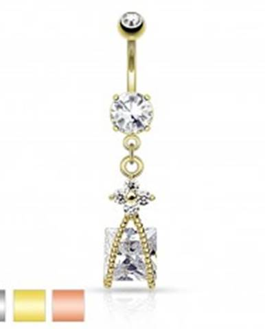 Oceľový piercing do bruška, trblietavý kvietok čírej farby, zirkónový štvorec R46.29/31 - Farba piercing: Medená - číra