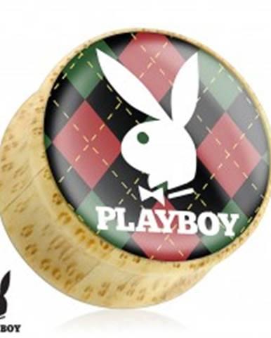 Plug do ucha z bambusového dreva, zajačik Playboy na károvanom podklade S1.13 - Hrúbka: 10 mm