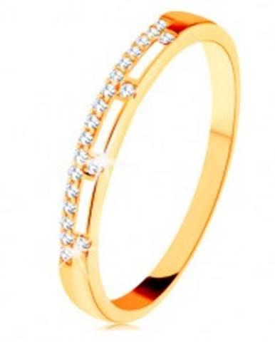 Prsteň zo žltého 14K zlata - číra zirkónová línia, pásy bielej glazúry GG131.01/11/15 - Veľkosť: 49 mm