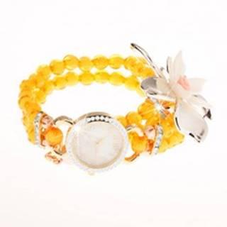 Hodinky z priehľadných žltých korálok, ciferník so zirkónmi, veľký kvet