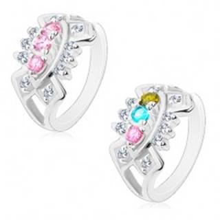Ligotavý prsteň s rozdelenými ramenami, výrezy so vsadenými zirkónmi - Veľkosť: 49 mm, Farba: Ružová
