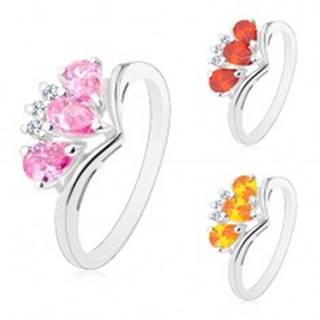 Ligotavý prsteň so zahnutými ramenami, tri farebné zirkónové slzičky R45.22 - Veľkosť: 52 mm, Farba: Svetlooranžová