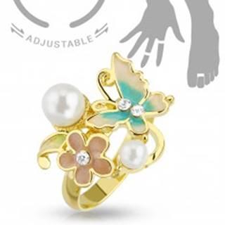 Nastaviteľný prsteň na ruku alebo nohu zlatej farby, motýľ, kvet a perličky R45.28