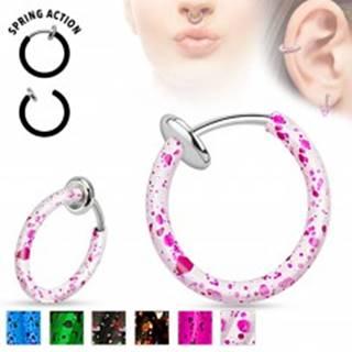 Oceľový fake piercing do nosa alebo do ucha, krúžok pofŕkaný farbou - Farba piercing: Biela