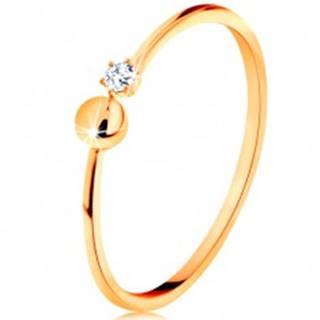 Prsteň v žltom 14K zlate - lesklé ramená ukončené guličkou a čírym zirkónom GG134.04/19/24 - Veľkosť: 51 mm