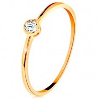 Prsteň v žltom zlate 585 - okrúhly číry zirkón v lesklej objímke GG135.07/31/34 - Veľkosť: 49 mm