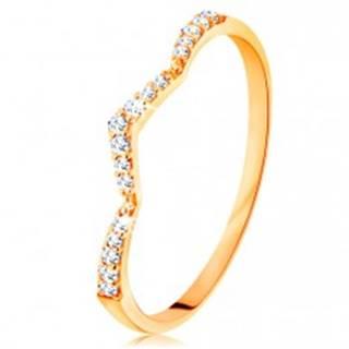 Prsteň zo žltého 14K zlata - trblietavý pás, jemne zalomený do špica GG133.09/51/55 - Veľkosť: 49 mm