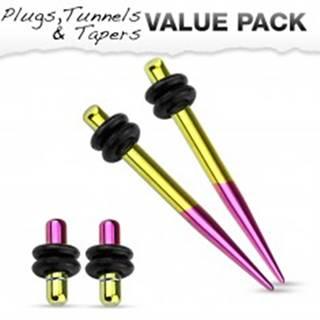 Set dvoch expanderov a dvoch plugov z ocele 316L, žltá a fialová farba - Hrúbka: 1,6 mm