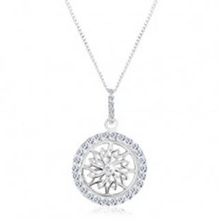 Strieborný náhrdelník 925, retiazka a prívesok, trblietavý kruh s ornamentom