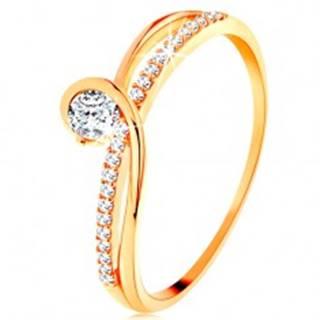 Zlatý prsteň 585 s rozdelenými prepletenými ramenami, číry zirkón - Veľkosť: 49 mm