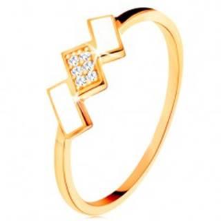 Zlatý prsteň 585 - šikmé obdĺžniky pokryté bielou glazúrou a zirkónmi - Veľkosť: 49 mm