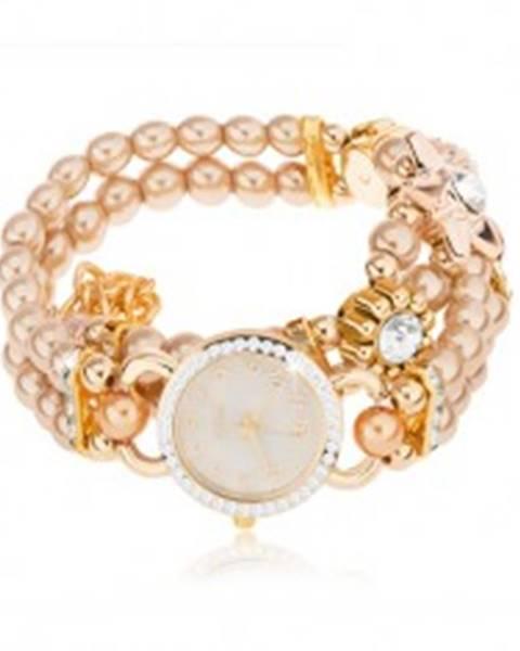 Náramkové hodinky, ciferník so zirkónmi, náramok z korálok zlatej farby, kvety