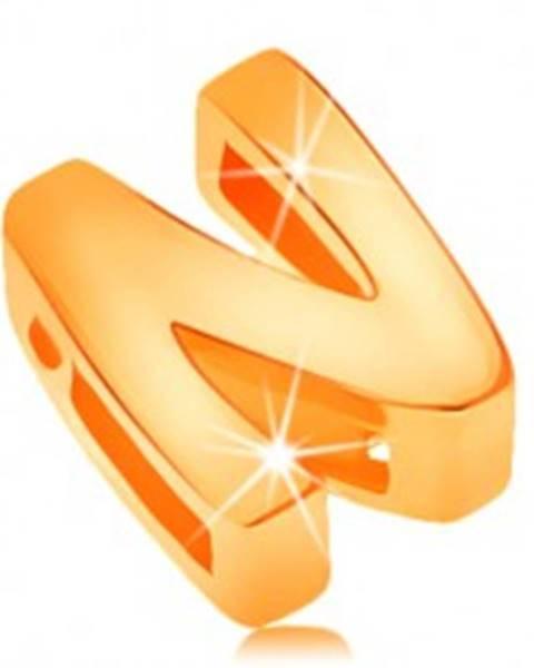 Prívesok zo žltého 14K zlata, tlačené písmeno N, zrkadlovolesklé GG124.10