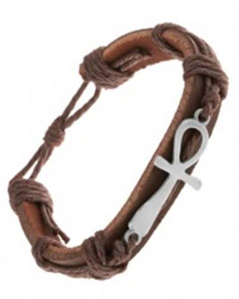Tmavohnedý kožený náramok so šnúrkami, nílsky kríž striebornej farby Z21.05