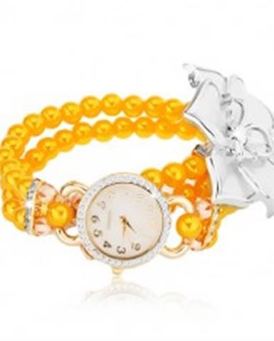 Hodinky so žltým korálkovým náramkom, biely kvet, ciferník so zirkónmi Z09.02