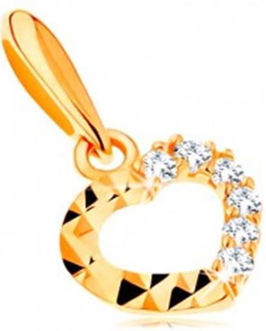 66a0617e3 Zlatý prívesok 585 - ligotavá kontúra srdiečka, číre zirkóny a diamantový  rez GG118.09