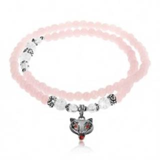 Elastický náramok, lesklé ružové a číre guličky, oceľové korálky, líška Z06.10