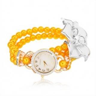 Hodinky so žltým korálkovým náramkom, biely kvet, ciferník so zirkónmi