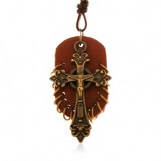 Kožený náhrdelník, prívesky - hnedý ovál s malými krúžkami a keltský kríž Z18.05