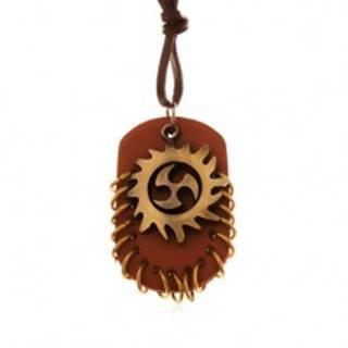 Náhrdelník zo syntetickej kože, prívesky - Tribal kruh a hnedý ovál s krúžkami Z18.16