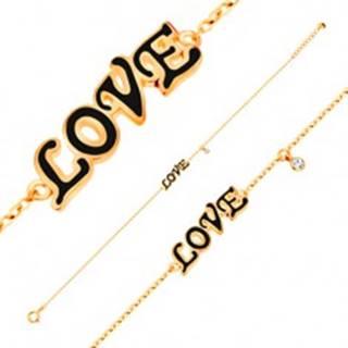 Náramok v žltom 14K zlate, prívesky - čierny glazúrovaný nápis LOVE, zirkón GG137.12