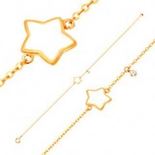 Náramok v žltom 14K zlate, prívesky - hviezda s bielou glazúrou, zirkón GG136.30