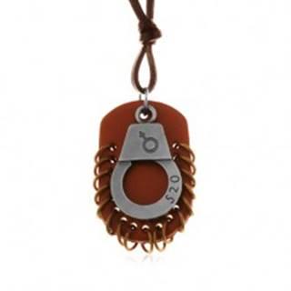 Nastaviteľný kožený náhrdelník - putá s číslom, hnedá známka s kruhmi