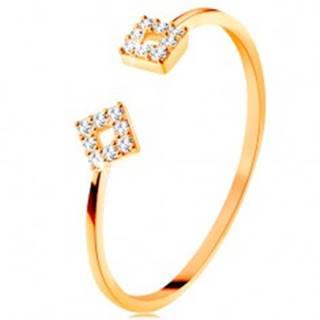 Prsteň zo žltého 14K zlata s oddelenými ramenami, malé zirkónové štvorce - Veľkosť: 50 mm