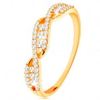 Zlatý prsteň 585 - prepletené zvlnené ramená, okrúhle číre zirkóny - Veľkosť: 49 mm