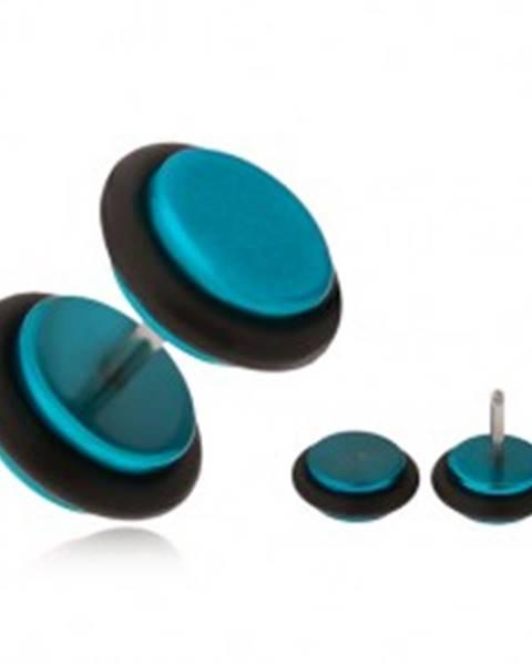 Azúrovomodrý fake plug do ucha, akrylové kolieska