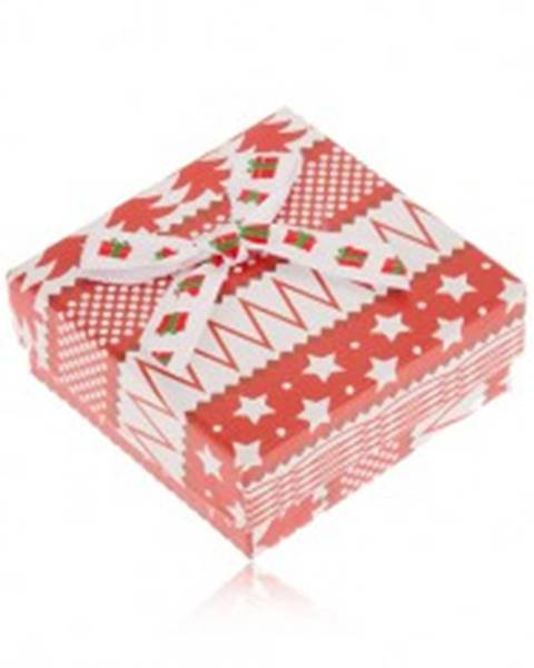 Červeno-biela krabička na náušnice, hviezdy, stromy, guličky, mašľa