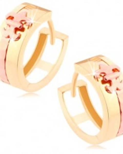 Dvojfarebné zlaté náušnice 585 - lesklý krúžok, pásik a Fleur de Lis medenej farby