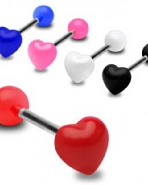 Farebný piercing do jazyka, lesklé súmerné srdce - Farba piercing: Biela