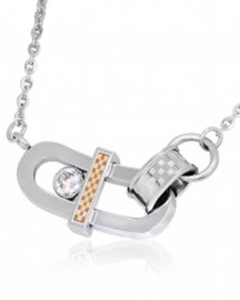 Náhrdelník z ocele - ohnutý ovál, zirkón a šachovnica