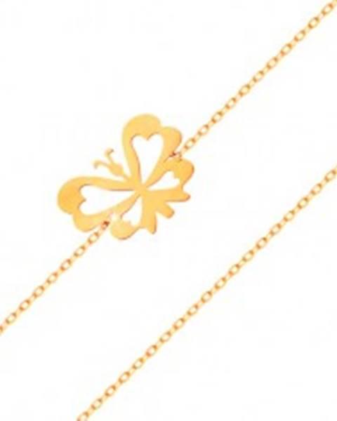 Náramok v žltom 14K zlate - jemná retiazka, plochý motýlik s vyrezávanými krídlami