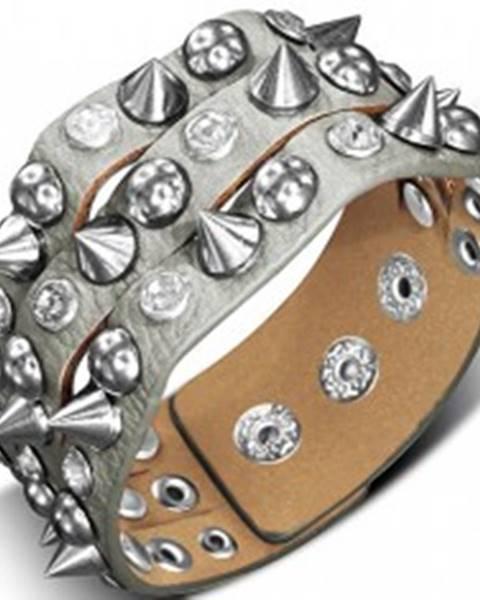 Náramok vyrobený z kože - s kovovým špicom, pologuľou a kameňom