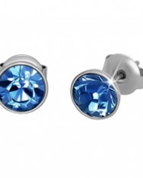 Oceľové náušnice, strieborná farba, modrý okrúhly zirkón, puzetky, 7 mm