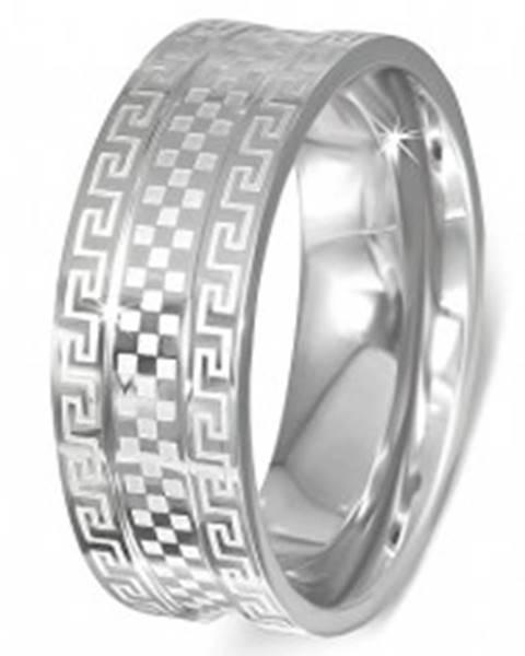 Oceľový prsteň - obrúčka s gréckym kľúčom a šachovnicou - Veľkosť: 51 mm