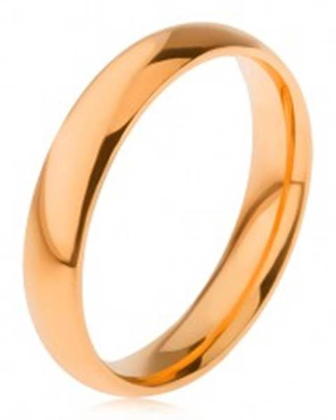 Oceľový prsteň s lesklým hladkým povrchom zlatej farby, 4 mm - Veľkosť: 49 mm