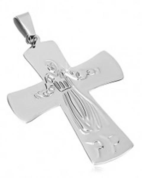 1b28ca712 Prívesok z chirurgickej ocele, Ježiš na kríži, strieborná farba AA09 ...
