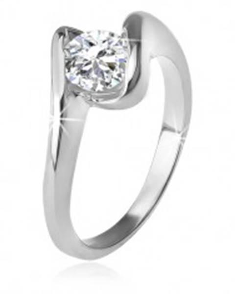 Prsteň s čírym zirkónom medzi zahnutými ramenami, striebro 925 K4.12 - Veľkosť: 49 mm