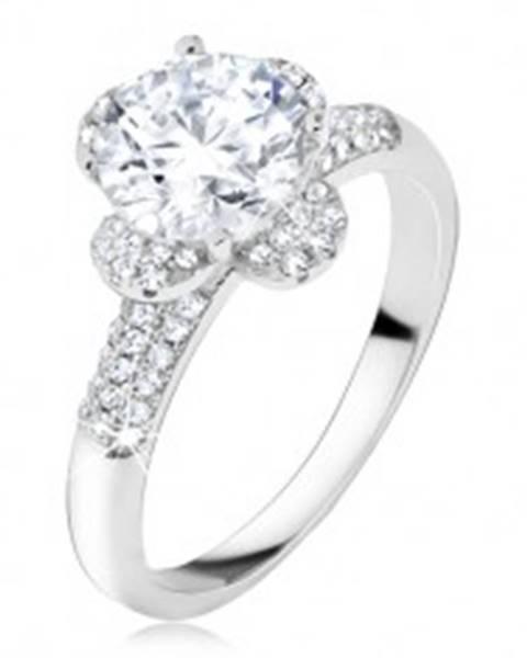 Prsteň s čírym zirkónovým kvetom, kamienky v ramenách, striebro 925 T24.7 - Veľkosť: 50 mm