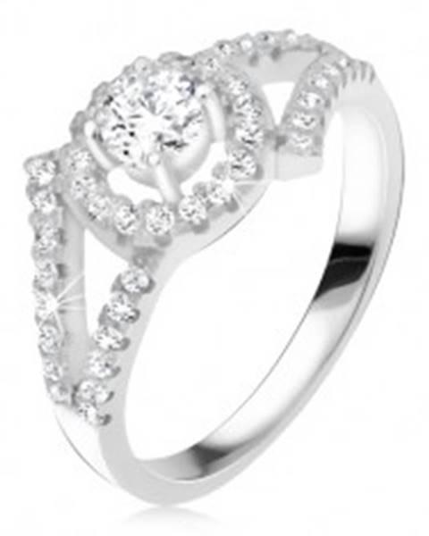 Strieborný 925 prsteň, rozvetvené ramená, okrúhly kameň s lemom K4.2 - Veľkosť: 47 mm