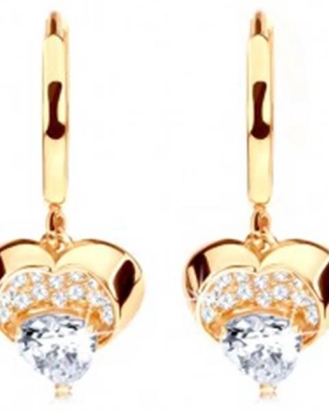 Zlaté náušnice 585 - krúžok s visiacim ligotavým srdcom, číre zirkóny