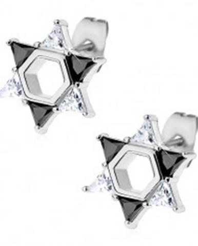 Náušnice z ocele 316L, Dávidova hviezda z čírych a čiernych zirkónov X02.02