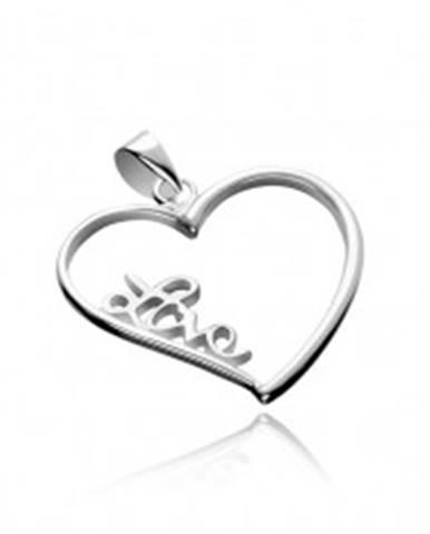 Strieborný prívesok 925 - veľké obrysové srdce s nápisom Love