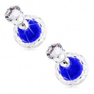 Napichovacie náušnice, dve guličky - číra a modrá, zirkón v objímke